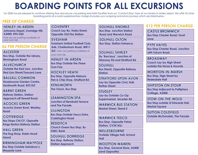 Choose from 36 Boarding Points