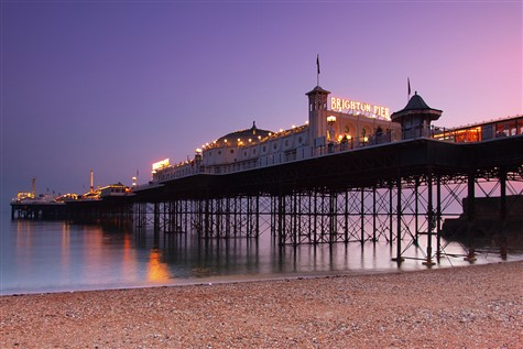A fantastic view of brighton pier on an almost purple sunset.