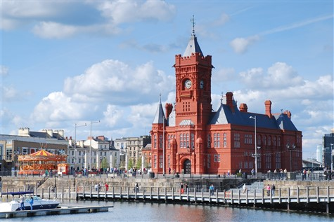 The collossall, red pierhead building in Cardiff.