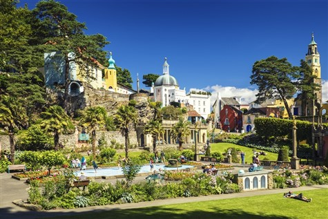 Portmeirion, a recreation of an Italian village with a Mediterranean feel.